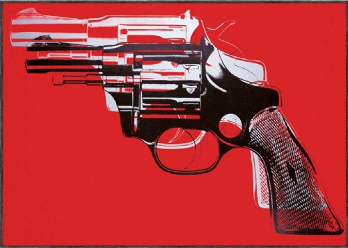 ART - POP ART GUN RED canvas print - self adhesive poster - photo print